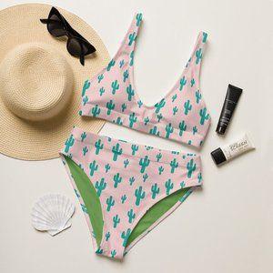 Western Cactus Print High-Waisted Bikini